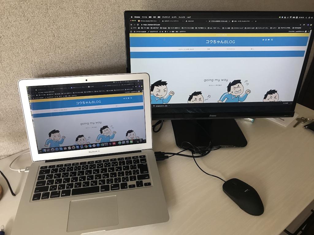 iiyamaモニターディスプレイとMacBookAirとの比較画像