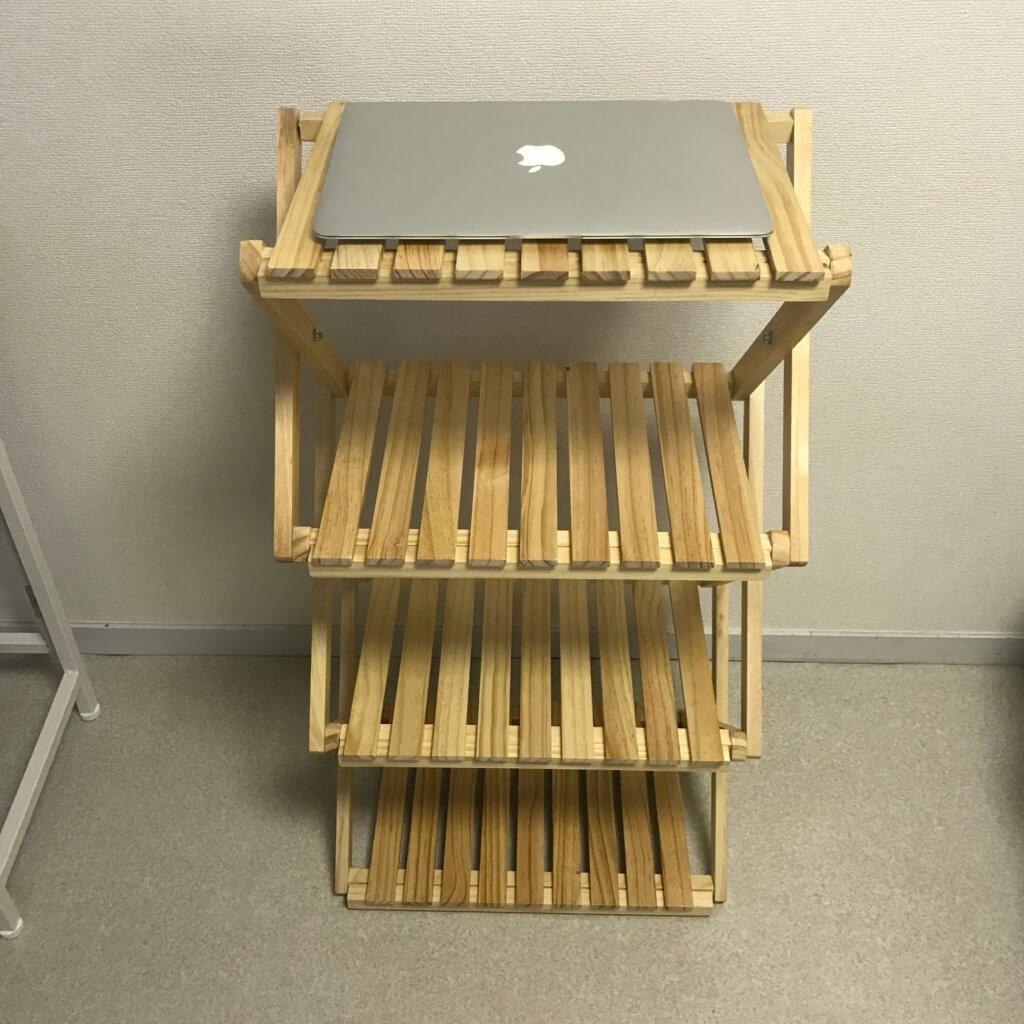コーナン折り畳み式木製4段ラックとmac